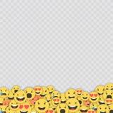 Grupo de ícones do emoji Caras engraçadas com emoções diferentes Ícones lisos do estilo de Emoji Reações sociais dos meios Vetor ilustração stock