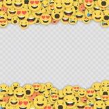 Grupo de ícones do emoji Caras engraçadas com emoções diferentes Ícones lisos do estilo de Emoji Reações sociais dos meios Vetor ilustração royalty free