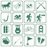 Grupo de ícones do equipamento do acampamento e de esporte Foto de Stock