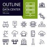 Grupo de ícones do esboço do centro de dados fotos de stock