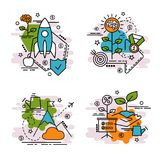 Grupo de ícones do esboço do crescimento imagens de stock royalty free