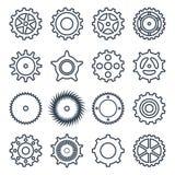 Grupo de ícones do esboço das engrenagens mecânicas ilustração royalty free
