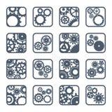 Grupo de ícones do esboço das engrenagens mecânicas Imagens de Stock Royalty Free