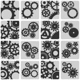 Grupo de ícones do esboço das engrenagens mecânicas Fotos de Stock