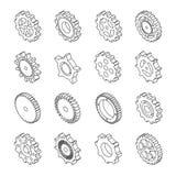 Grupo de ícones do esboço das engrenagens mecânicas ilustração stock