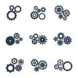 Grupo de ícones do esboço das engrenagens mecânicas Imagem de Stock