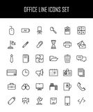 Grupo de ícones do escritório na linha estilo fina moderna Imagem de Stock Royalty Free