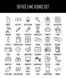 Grupo de ícones do escritório na linha estilo fina moderna Imagens de Stock Royalty Free