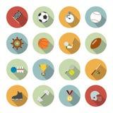 Grupo de ícones do esporte do vetor no projeto liso Imagem de Stock Royalty Free