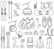 Grupo de ícones do esqui e do snowboard Ilustração do Vetor
