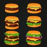Grupo de ícones do fast food Hamburgueres da carne com vários ingredientes ilustração royalty free