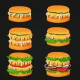 Grupo de ícones do fast food Hamburgueres grelhados da galinha com vários ingredientes ilustração royalty free