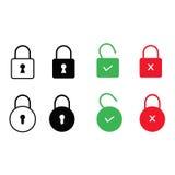 Grupo de ícones do fechamento isolados no fundo branco Ilustração do vetor Imagem de Stock Royalty Free