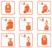 Grupo de ícones do fogão de acampamento e da garrafa de gás Imagem de Stock Royalty Free
