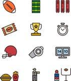 Grupo de ícones do futebol de América Fotografia de Stock