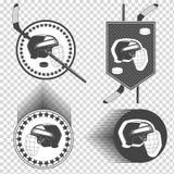 Grupo de ícones do hóquei em gelo Imagem de Stock
