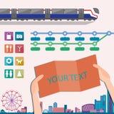 Grupo de ícones do mapa com informação do trem Ilustração do vetor Fotos de Stock Royalty Free