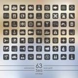 Grupo de ícones do mar Imagem de Stock