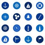 Grupo de ícones do mar no fundo da cor, ilustração Fotografia de Stock