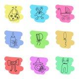 Grupo de ícones do material dos bebês esboço Handdrawn Imagens de Stock Royalty Free