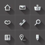 Grupo de ícones do menu do Web site Projeto liso Fotografia de Stock