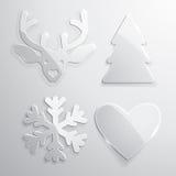 Grupo de ícones do Natal de vidro e do ano novo ilustração stock
