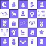 Grupo de ícones do Natal, decorações da Natal-árvore, testes padrões para cartões, ilustração lisa do vetor ilustração stock