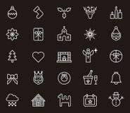 Grupo de ícones do Natal e do inverno Imagens de Stock