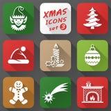 Grupo de ícones do Natal no estilo liso Fotos de Stock Royalty Free