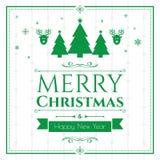 Grupo de ícones do Natal no fundo verde Fotos de Stock