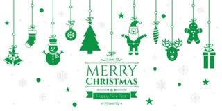 Grupo de ícones do Natal no fundo verde Imagem de Stock Royalty Free