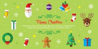 Grupo de ícones do Natal no fundo verde Fotografia de Stock Royalty Free