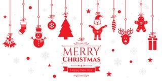 Grupo de ícones do Natal no fundo vermelho Imagem de Stock Royalty Free