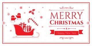 Grupo de ícones do Natal no fundo vermelho Foto de Stock