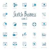 Grupo de ícones do negócio do esboço com acento azul Imagens de Stock Royalty Free