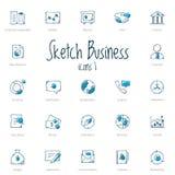 Grupo de ícones do negócio do esboço com acento azul Fotos de Stock Royalty Free