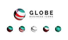 Grupo de ícones do negócio do logotipo da esfera ou do círculo do globo Imagens de Stock Royalty Free