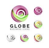 Grupo de ícones do negócio do logotipo da esfera ou do círculo do globo Imagem de Stock