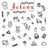 Grupo de ícones do outono da garatuja - vetor Imagens de Stock Royalty Free