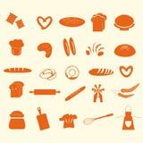 Grupo de ícones do pão e da padaria Fotografia de Stock