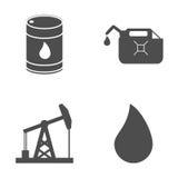 Grupo de ícones do petróleo e gás no fundo branco Vetor Imagens de Stock