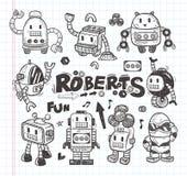 Grupo de ícones do robô da garatuja, linha ferramentas do ilustrador  Foto de Stock
