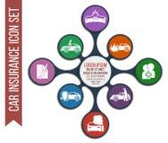 Grupo de 8 ícones do seguro de carro do vetor ilustração royalty free