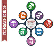 Grupo de 8 ícones do seguro do vetor ilustração stock