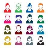 Grupo de ícones do ser humano da cor ilustração stock