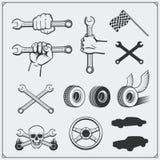 Grupo de ícones do serviço do carro e de elementos do projeto Fotos de Stock Royalty Free