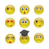 Grupo de ícones do smiley do emogy ilustração stock