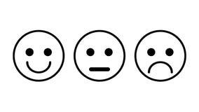 Grupo de 3 ícones do smiley Triste, neutro, sorrido ilustração do vetor