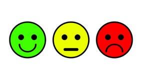 Grupo de 3 ícones do smiley Triste, neutro, sorrido ilustração royalty free