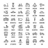 Grupo de ícones do transporte na linha estilo fina moderna ilustração royalty free